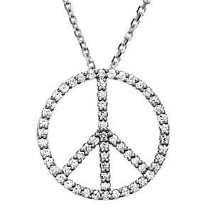 Diamond Peace Sign Necklace Jewelry