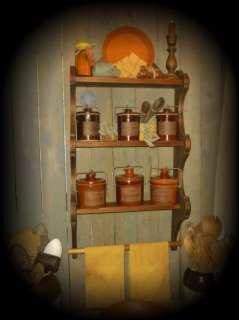 Primitive Gathering Open Cupboard~Stoneware Crocks~Pie Tin~Candles