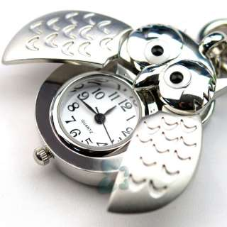 Silver Color Owl Key Ring Chain Pendant Pocket Watch E