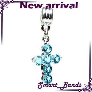 Silver CROSS pendant crystal bead for European bracelet charm free