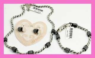 Brighton MERIDIAN Black Silver Necklace Bracelet Earrings Set NWT