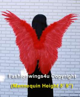 Red butterfly costume feather wings angel fairy nymph macaw parrot