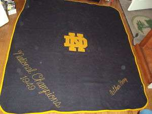1949 Notre Dame Football Monogram Blanket Natl Champs
