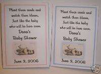 Personalized Boy / Girl Baby Shower Seed Packets Favors