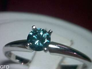 30 CT VIVID BLUE DIAMOND SOLITAIRE RING SOLID 14KT WHITE GOLD $1,800