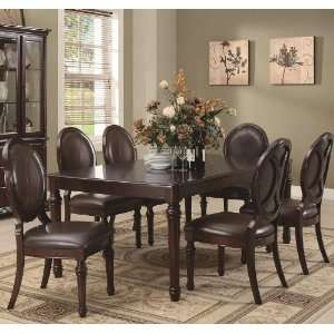 7pc Formal Dining Table and Oval Chairs Set in Brown