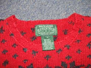 Lauren Polo Teddy Bear Skiing Snow Ski Nordic Sweater S NWOT