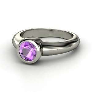 Spotlight Ring, Round Amethyst 18K White Gold Ring Jewelry