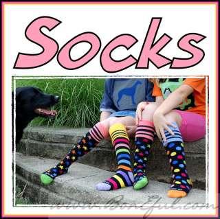 BOOAK Boutique GIRL Soccer Knee Socks Rainbow Stripe Dot Star Cotton