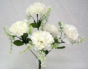 60 OFF WHITE Carnations Wedding Bridal Bouquet Silk Flowers Bush