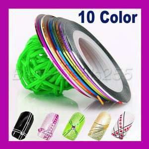 New 10 Color Rolls Striping Tape Nail Art Line Decoration Sticker UV