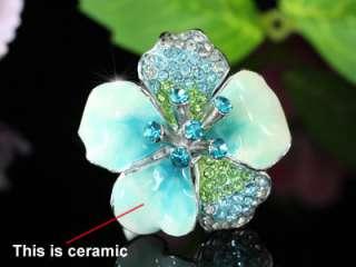 Blue Ceramic Flower Ring use Swarovski Crystal SR112