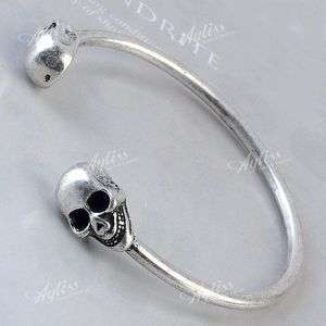 Silver Skull Bracelet Bangle Cuff Gothic Rock Cool Punk Jewelry