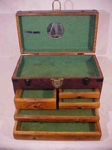 Antique Oak Wood Machinist Tool Chest Box Vintage Jewelery Cabinet