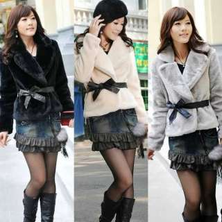 2011 New Fashion Womens Noble Faux Fur Short Jacket Coat with Belt 3