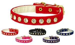16 VELVET DOG COLLAR RED WITH CLEAR CRYSTALS RHINESTONES   Mirage Pet