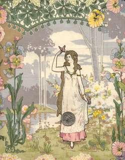 Rare RJR Art Nouveau BUTTERFLY LADY Maiden Fabric