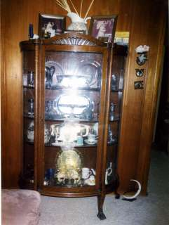 Antique Oak Wood China Cabinet Marshall Fields 1927 |