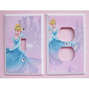 2pc New Handcrafted Disney Princess Cinderella Light Switchplate w