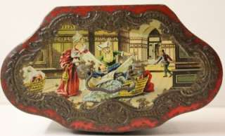 Antique Fantastic French fairy tail scene biscuit tin lunch pail.1900
