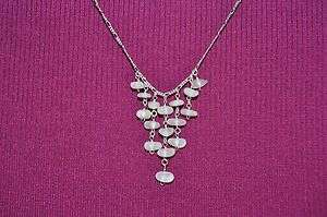 BEACH JEWELRY NECKLACE WHITE ELEGANT DEW DROPS STERLING SILVER