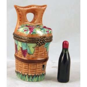 Basket with Grapes and Wine Bottle French Limoges Box
