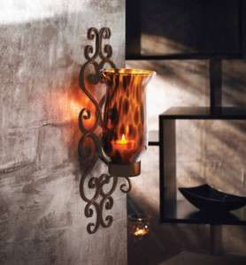 American Atelier Tortoise Glass & Metal Lighting Wall Sconce New