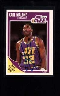 1989 FLEER #155 KARL MALONE AUTHENTIC ON CARD AUTOGRAPH AU093