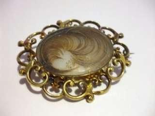 Georgian Hair Mourning Gold Locket Pin   Pendant 2 1/4 Great Piece
