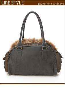 Small Fur Shoulder HandBag Hand Bag Charcoal Dark Olive Green