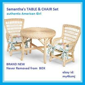 American Girl Doll Samanthas Wicker TABLE and 2 CHAIRS SET