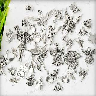 Antique Silver Dancing Angel Fairy With Wing Charm Pendant TS0621