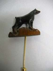 VINTAGE Hand Carved Wood Doberman Pincher Dog Stick Pin   Really Cool