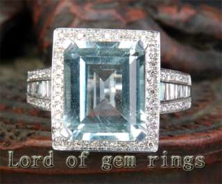 AQUAMARINE PAVE .89ct DIAMOND 14K WHITE GOLD Engagement RING