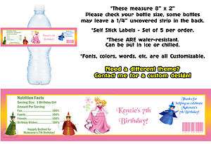 Sleeping Beauty ~ Printed Water Bottle Labels ~ Birthday Party Favors