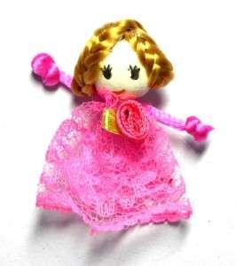 18x Little Girl Doll Blonde Hair Organza Applique B0693