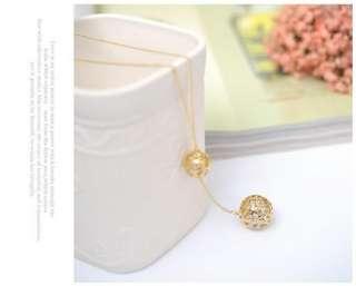 Korean Fashion Gold Color Ball Crystal CZ Necklace Z191