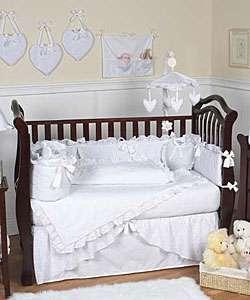 White Eyelet 12 piece Baby Girl Nursery Bedding Set
