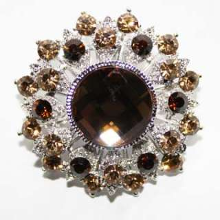 Brown Round Cluster Swarovski Crystal Bridal Brooch Pin