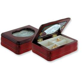 New Cherry Finish Wood Lift Lid Heart Jewelry Box
