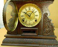 Antique c1885 INGRAHAM CABINET No.17 OAK SHELF CLOCK |