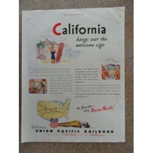 Union Pacific Railroad, Vintage 40s full page print ad. (California