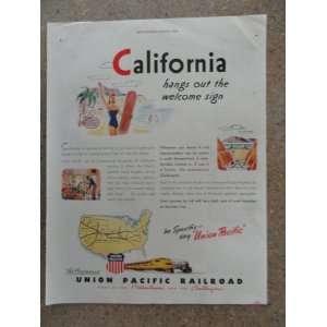Union Pacific Railroad, Vintage 40s full page print ad. (California