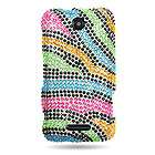 Bling Diamond Hard Cover Case For Cricket ZTE Score X500 Phone Rainbow