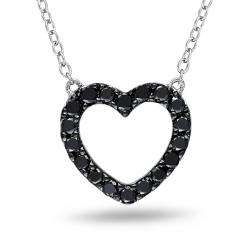 Sterling Silver 1/2ct TDW Black Diamond Heart Necklace
