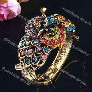 Multi Color Rhinestone Double Owl Fashion Brass Bracelet Bangle