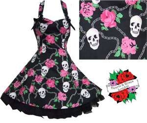 Roses London Skull Rose Chain Tattoo Rockabilly Pin Up Punk Mini Dress