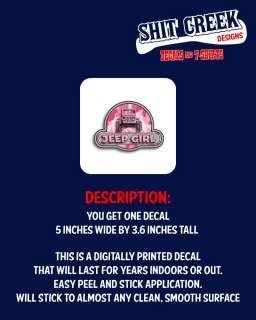 Pink Camo JEEP GIRL printed window sticker for your YJ, CJ, WRANGLER
