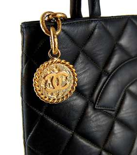 Authentic CHANEL Black Quilted Lambskin Gold Medallion Tote Handbag