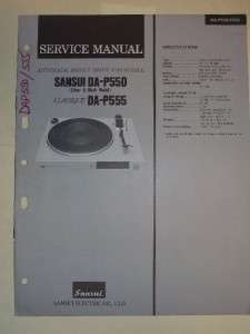 Sansui Service Manual~DA P550/P555 Turntable~Original
